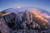 Mountain Ai-Petri. Night, Full Moon (Crimea)