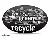 Concept or conceptual 3D oval or ellipse abstract green ecology and conservation word cloud text on white background