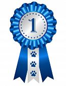 image of rosettes  - Dog competition winner silver blue award ribbon rosette with no 1 on center - JPG