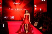 NEW YORK-FEB 12: Actress Zendaya wears Rubinsinger at Go Red for Women - The Heart Truth Red Dress Collection at Mercedes-Benz Fashion Week at Lincoln Center on February 12, 2014 in New York City.