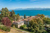 Luxury properties on lake shore of Lake Geneva, Switzerland
