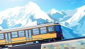Train in high Alps mountains. Winter season. EPS 10 format.