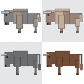 symbol icon rectangle animal bison bull