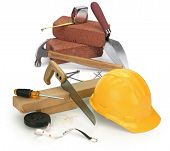 picture of 2x4  - tools and construction materials on white - JPG