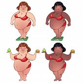 Cute Fat Woman On The Scales And With Food In Their Hands