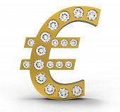 Golden Cg Euro Symbol Incrusted With Diamonds
