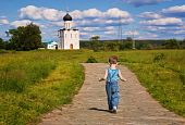 Little Boy On A  Orthodox Church Background