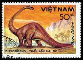 Vintage  Postage Stamp. Diplodocus.