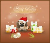 Merry Christmas Card With Cute Puppy