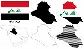 Iraq - Flag, four vector map contours and Middle East map