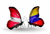 Two Butterflies With Flags On Wings As Symbol Of Relations Latvia And Venezuela