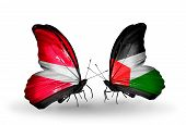 Two Butterflies With Flags On Wings As Symbol Of Relations Latvia And Palestine