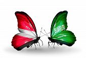 Two Butterflies With Flags On Wings As Symbol Of Relations Latvia And Saudi Arabia