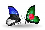picture of bangladesh  - Two butterflies with flags on wings as symbol of relations Estonia and Bangladesh - JPG