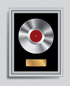 foto of lp  - vector realistic illustration of the blank platinum LP in silver frame - JPG