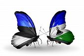 Two Butterflies With Flags On Wings As Symbol Of Relations Estonia And Lesotho