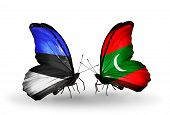 Two Butterflies With Flags On Wings As Symbol Of Relations Estonia And Maldives