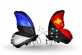 foto of papua new guinea  - Two butterflies with flags on wings as symbol of relations Estonia and Papua New Guinea - JPG