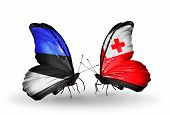 Two Butterflies With Flags On Wings As Symbol Of Relations Estonia And Tonga