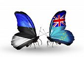 Two Butterflies With Flags On Wings As Symbol Of Relations Estonia And Tuvalu