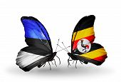 Two Butterflies With Flags On Wings As Symbol Of Relations Estonia And Uganda