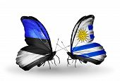 Two Butterflies With Flags On Wings As Symbol Of Relations Estonia And Uruguay
