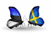 Two Butterflies With Flags On Wings As Symbol Of Relations Estonia And Sweden