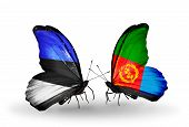 Two Butterflies With Flags On Wings As Symbol Of Relations Estonia And Eritrea
