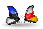 Two Butterflies With Flags On Wings As Symbol Of Relations Estonia And South Ossetia