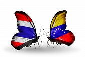 Two Butterflies With Flags On Wings As Symbol Of Relations Thailand And Venezuela