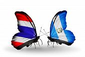 Two Butterflies With Flags On Wings As Symbol Of Relations Thailand And Guatemala