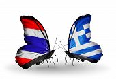 Two Butterflies With Flags On Wings As Symbol Of Relations Thailand And Greece