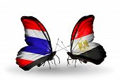 Two Butterflies With Flags On Wings As Symbol Of Relations Thailand And Egypt
