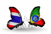 Two Butterflies With Flags On Wings As Symbol Of Relations Thailand And Ethiopia
