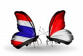 Two Butterflies With Flags On Wings As Symbol Of Relations Thailand And Monaco, Indonesia