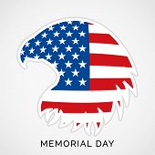 stock photo of memorial  - Illustration of Memorial Day with eagle in national flag colors - JPG