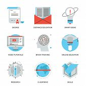 Online Education And Training Line Icons Set