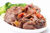 stock photo of beef shank  - home made osso buco veal shank braised with fresh tomato and aromatics