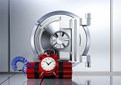 stock photo of vault  - bank vault with a bomb concept of safety or risk  - JPG