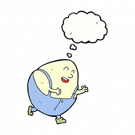 picture of nursery rhyme  - cartoon humpty dumpty egg character with thought bubble - JPG