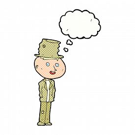 stock photo of hobo  - cartoon funny hobo man with thought bubble - JPG