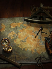 picture of pirate ship  - treasure map with nautical and pirate paraphernalia - JPG