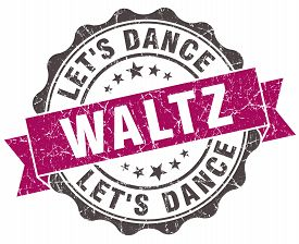 foto of waltzing  - waltz grunge violet seal isolated on white - JPG