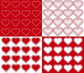 4 Seamless Hearts Patterns