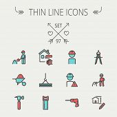 foto of hammer drill  - Construction thin line icon set for web and mobile - JPG