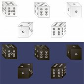 picture of dice  - white and black dice - JPG