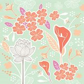 pic of pastel colors  - Flower or Floral and leaf pattern seamless fabric vector pastel color scheme on pastel green color background - JPG