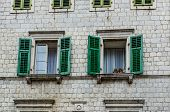 stock photo of louvers  - Wooden window with louvers in old house in the Kotor Montenegro - JPG