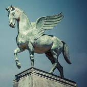 image of pegasus  - statue of pegasus on the roof of opera in poznan poland - JPG
