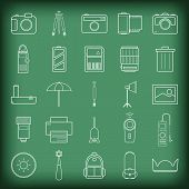 picture of meter stick  - Camera and accessories icons set vector illustration on blackboard - JPG